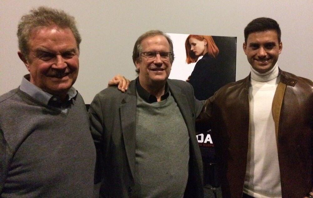"""Pete Hammond, John Madden and Jonathan Perera pose for a photo following the screening of """"Miss Sloane"""" at the KCET Cinema Series."""