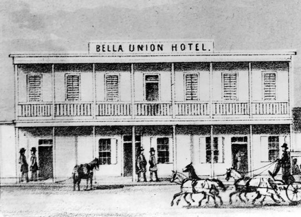 Drawing of the Bella Union, L.A.'s first hotel, as it appeared in 1858. Courtesy of the Photo Collection, Los Angeles Public Library.