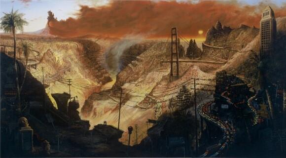 'Inferno'. Sandow Birk, 2003. Oil on Canvas, 72' x 120'. Courtesy of Koplin del Rio Gallery.
