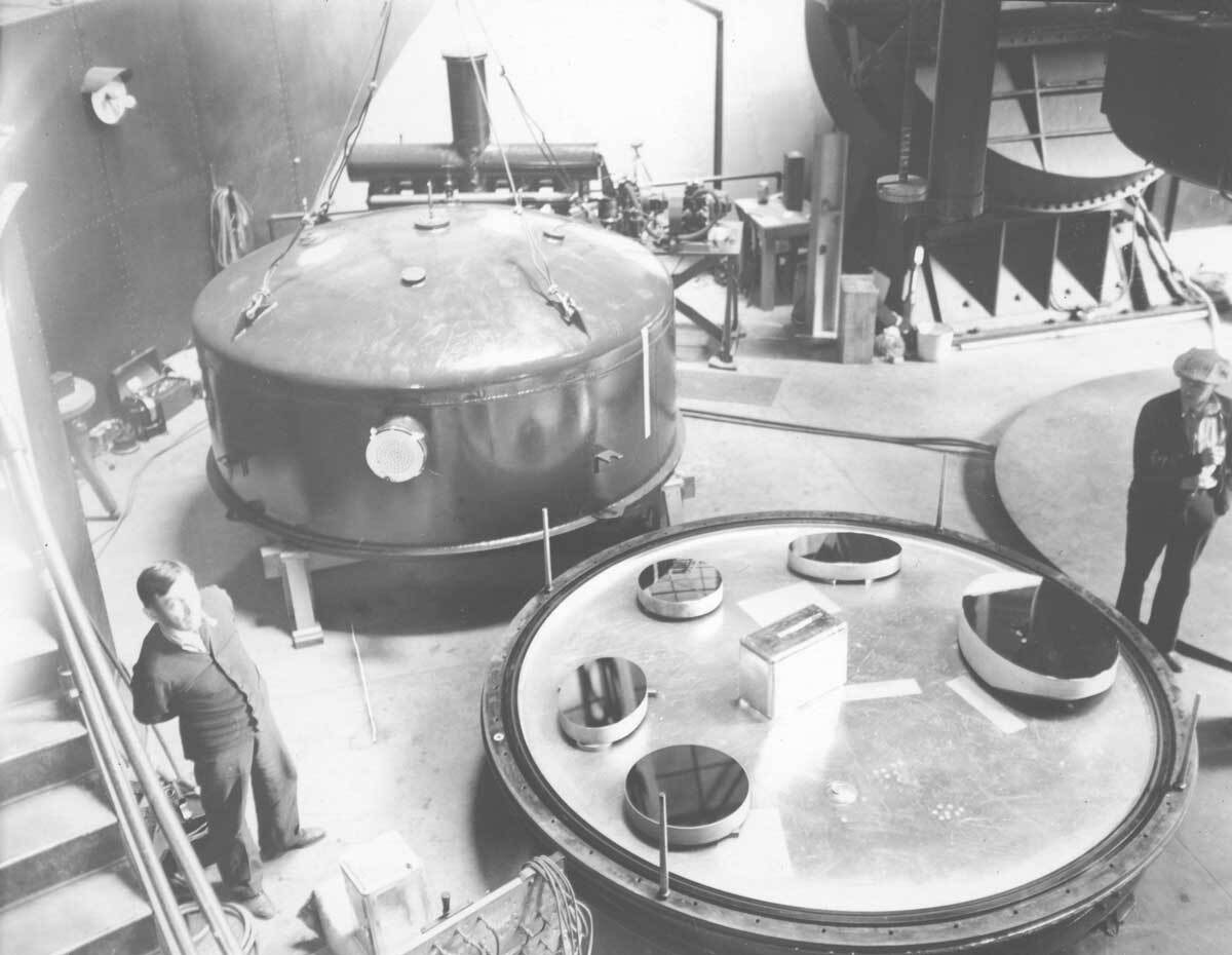 Secondary mirrors of the 100-inch and 60-inch telescopes. Mount Wilson Observatory |  Image courtesy of the Observatories of the Carnegie Institution for Science Collection at the Huntington Library, San Marino, California