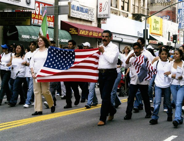 Immigrants marching in downtown Los Angeles on May 1, 2006 against H.R. 4437. Photo by Stone Ishimaru, courtesy of the Los Angeles Public Library Photograph Collection