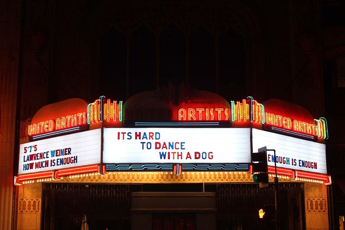 Lawrence Weiner's haiku at Ace Hotel | Courtesy of Ace Hotel DTLA