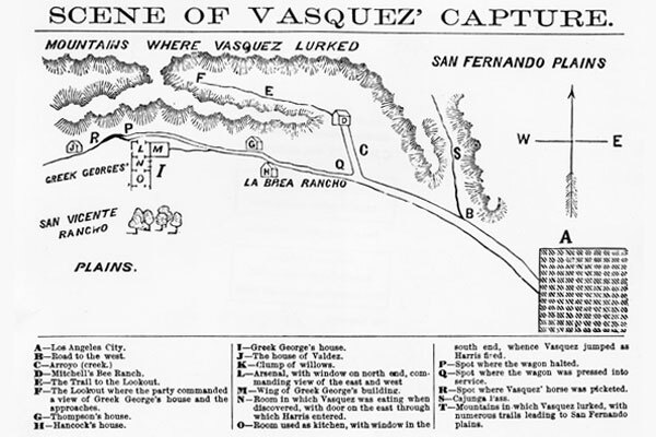 Vasquez took protection in the landscape that had until 1847, when California was forcibly acquired by the U.S. from Mexico.Image courtesy of Los Angeles Public Library.
