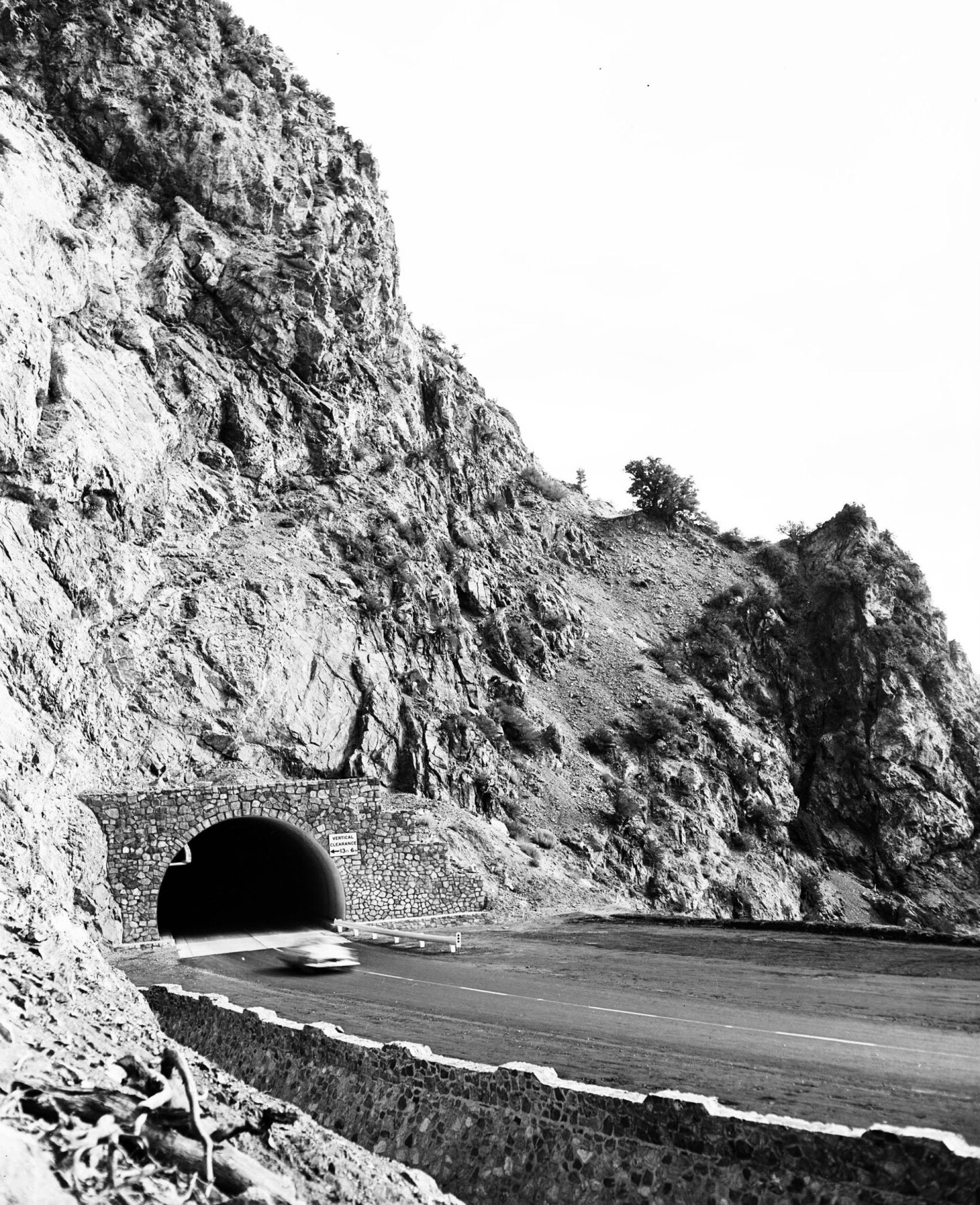 Angeles Crest Highway tunnel in 1956
