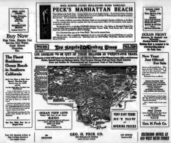 1920 real estate ad by George Peck. Courtesy of the California Historical Society Collection, USC Libraries.