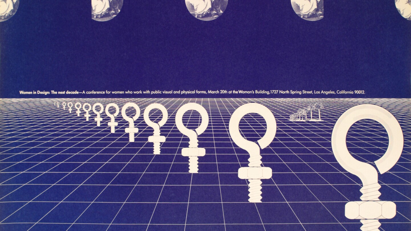 A poster for Women in Design Conference at the Woman's Building designed by Sheila de Bretteville.
