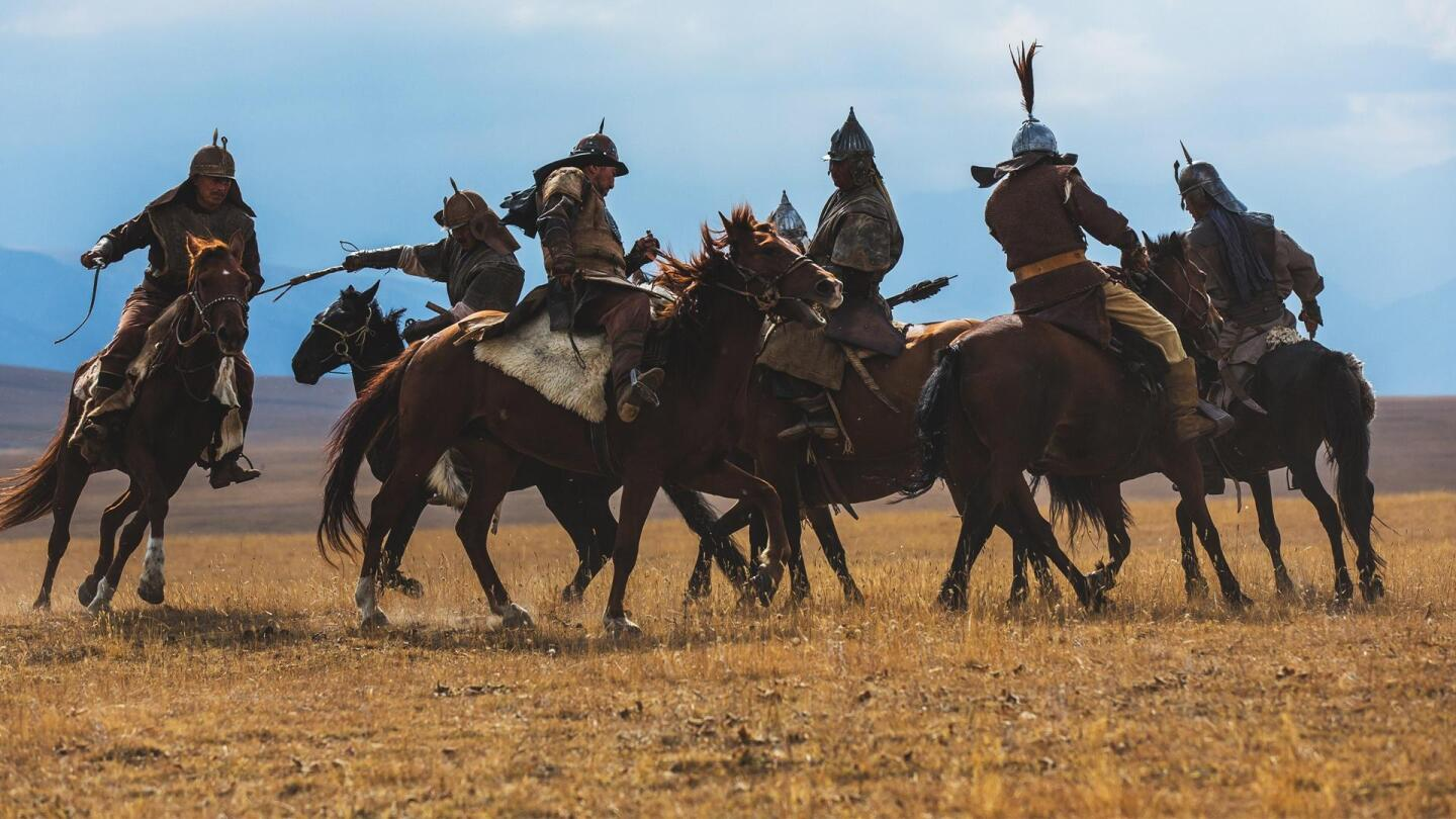 "A reenactment of historical warriors fighting each other on horseback. | ""NOVA: First Horse Warriors"""