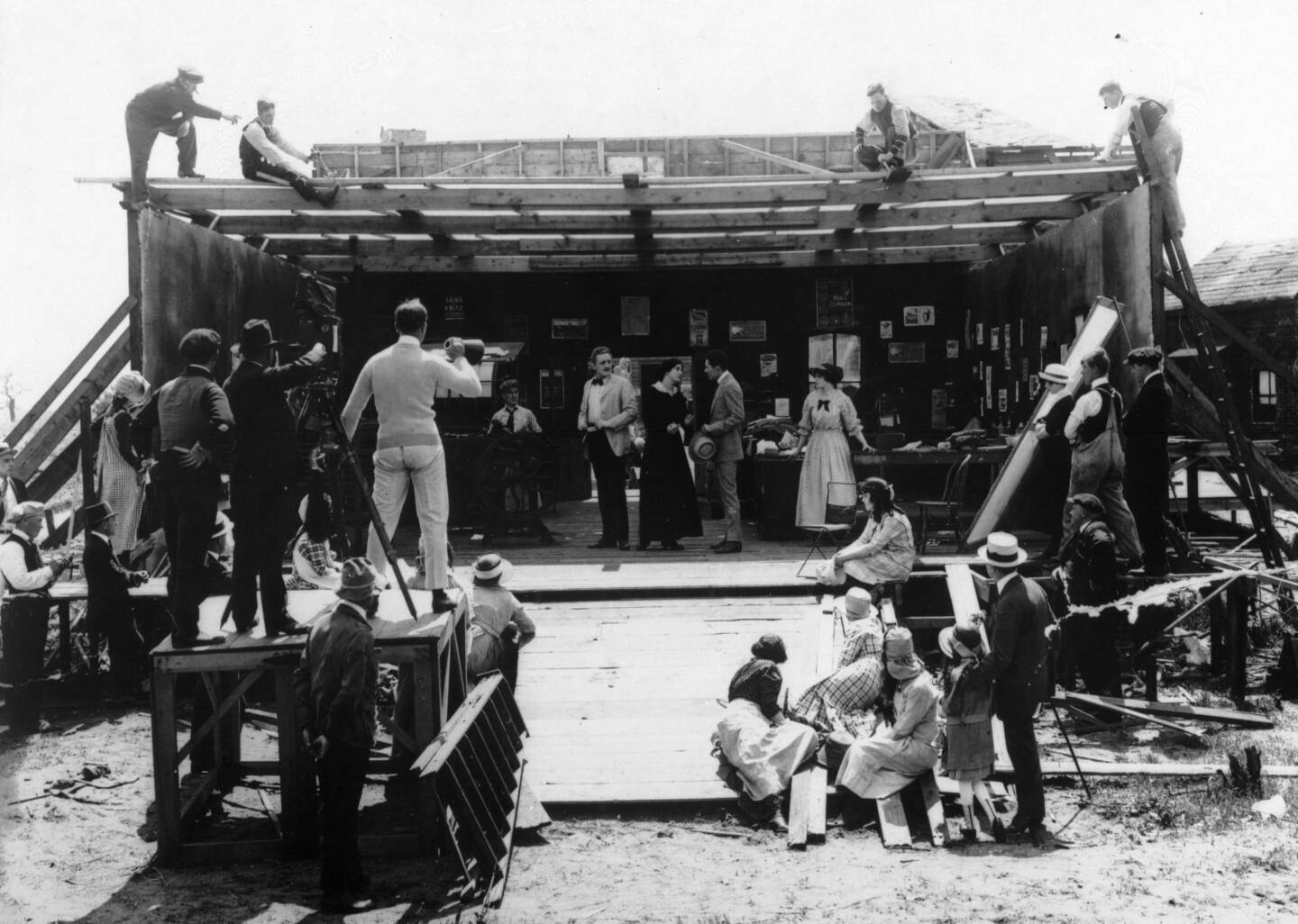 View of an outdoor film set at Vitagraph Studios, showing a film shoot in progress, 1917