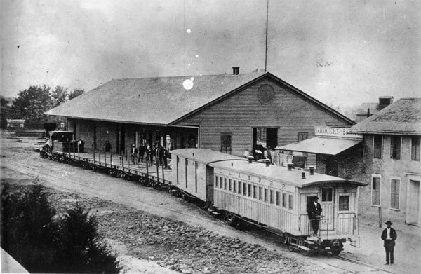 The depot of the Los Angeles & San Pedro Railroad, the city's first, stood at Commercial and Alameda streets. Courtesy of the Los Angeles Examiner Collection, USC Libraries.