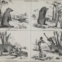 Artist's depiction of a fight with a Grizzly bear