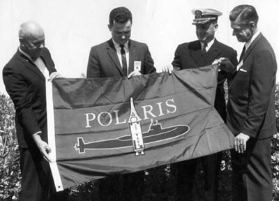 The presentation of the Polaris team flag in 1964 | Valley Times Collection at Los Angeles Public Library