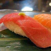 Fatty tuna and salmon nigiri