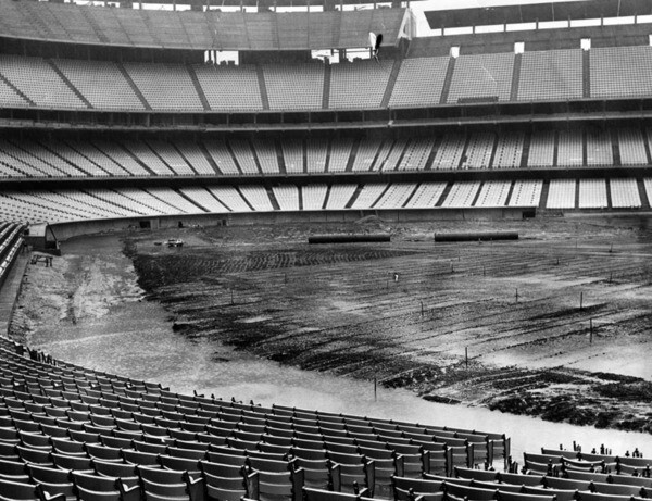 Spring storms delayed the completion of work on Dodger Stadium's field, seen here on February 23, 1962. Courtesy of the Photo Collection, Los Angeles Public Library.