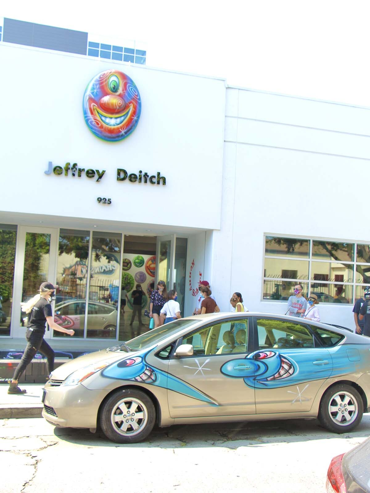 "Cars participating at Kenny Scharf's ""Karbombz!"" car parade September 26, 2020. It's parked outside Jeffrey Deitch gallery. 