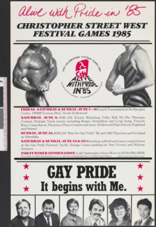 Alive with pride in '85 Christopher Street West festival games 1985, poster. | Christopher Street West/Los Angeles, ONE National Gay and Lesbian Archives, USC Libraries