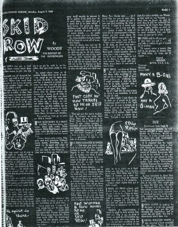 'Skid Row' | From Woody (Guthrie), 'Skid Row,' The Hollywood Tribune, 7 August 1939, n.p.