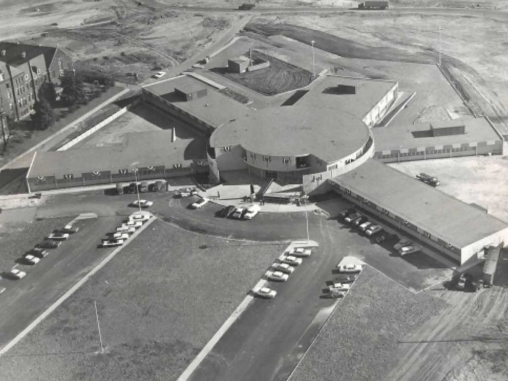 An aerial photograph of St. Jude Children's Research Hospital, Memphis, TN c. 1962 | Memphis Press Scimitar, Special Collections, University of Memphis Libraries. Courtesy of The Paul R. Williams Project at the Art Museum of the University of Memphis