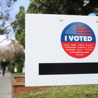 A sign reads 'I Voted' during early voting for the California presidential primary election outside an L.A. County 'vote center' on March 1, 2020 in Los Angeles, California.   Mario Tama/Getty Images