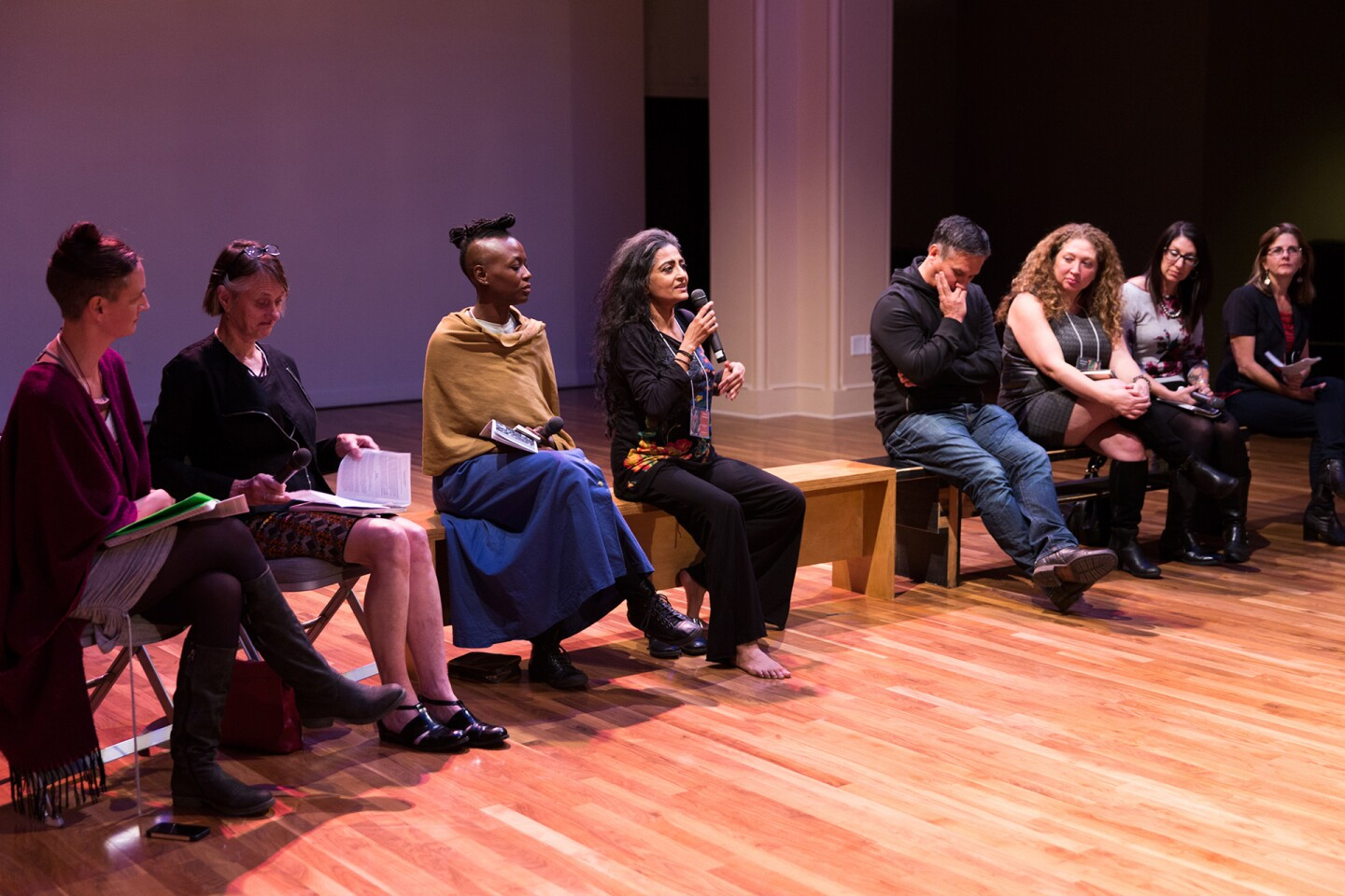 Jacqueline Shea-Murphy leads a discussion at the 2012 Indigenous Choreographers at Riverside event