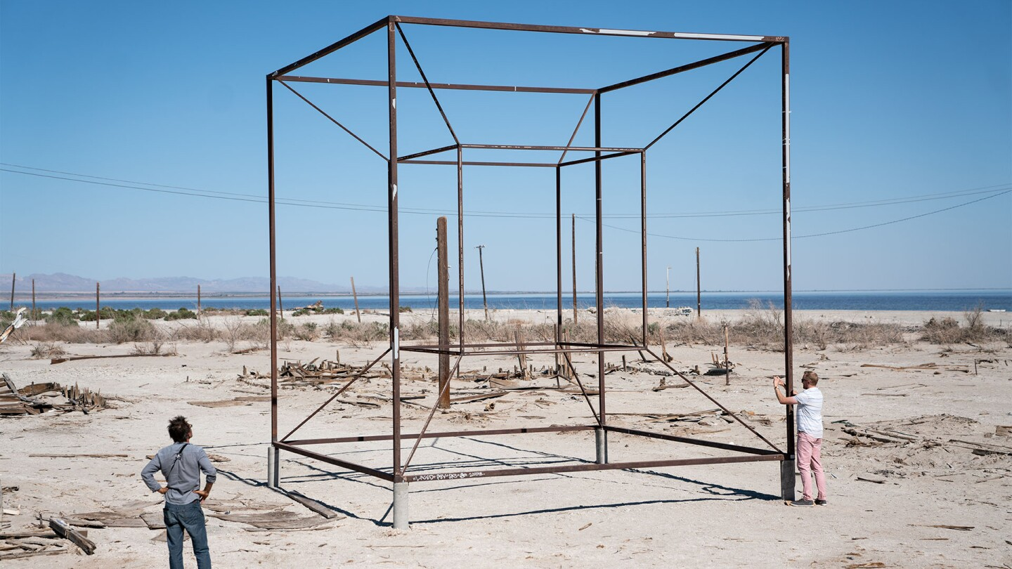 Remnants of beach art at the Salton Sea