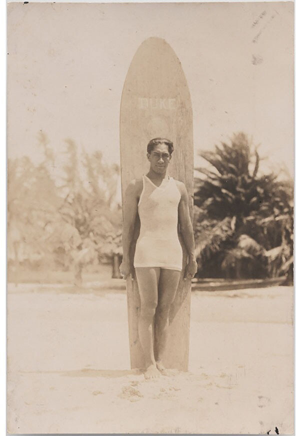 Surfer Duke Kahanamoku posing with his board c. 1915 | National Portrait Gallery, Smithsonian Institution