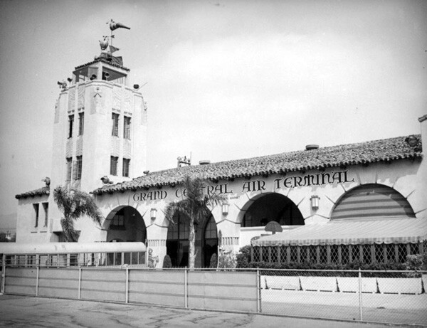 In the 1930s, Mines Field competed with Glendale's Grand Central Air Terminal for air traffic. The historic structure, owned today by the Walt Disney Company, still stands. Courtesy of the Herman J. Schultheis Collection, Los Angeles Public Library.