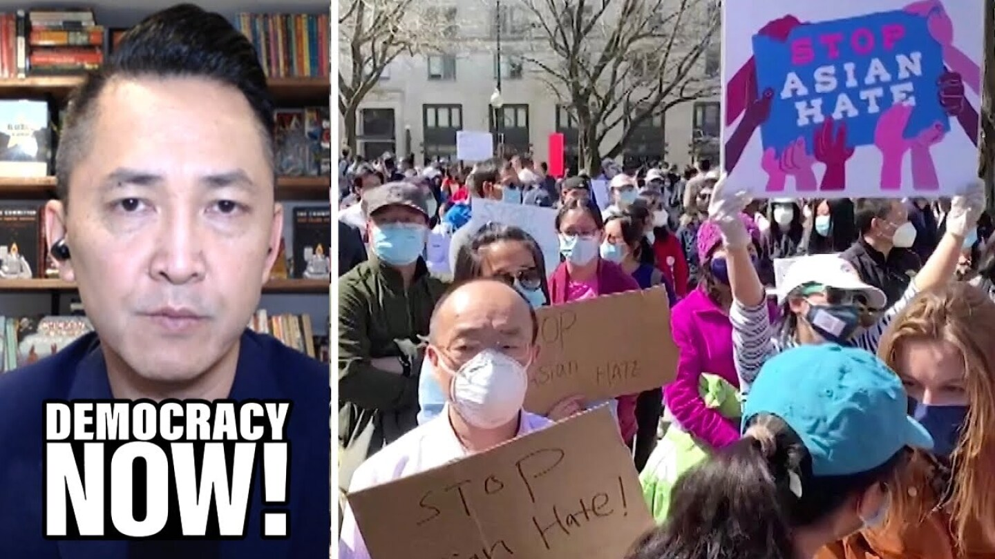 Viet Thanh Nguyen and a crowd of protesters of AAPI violence.