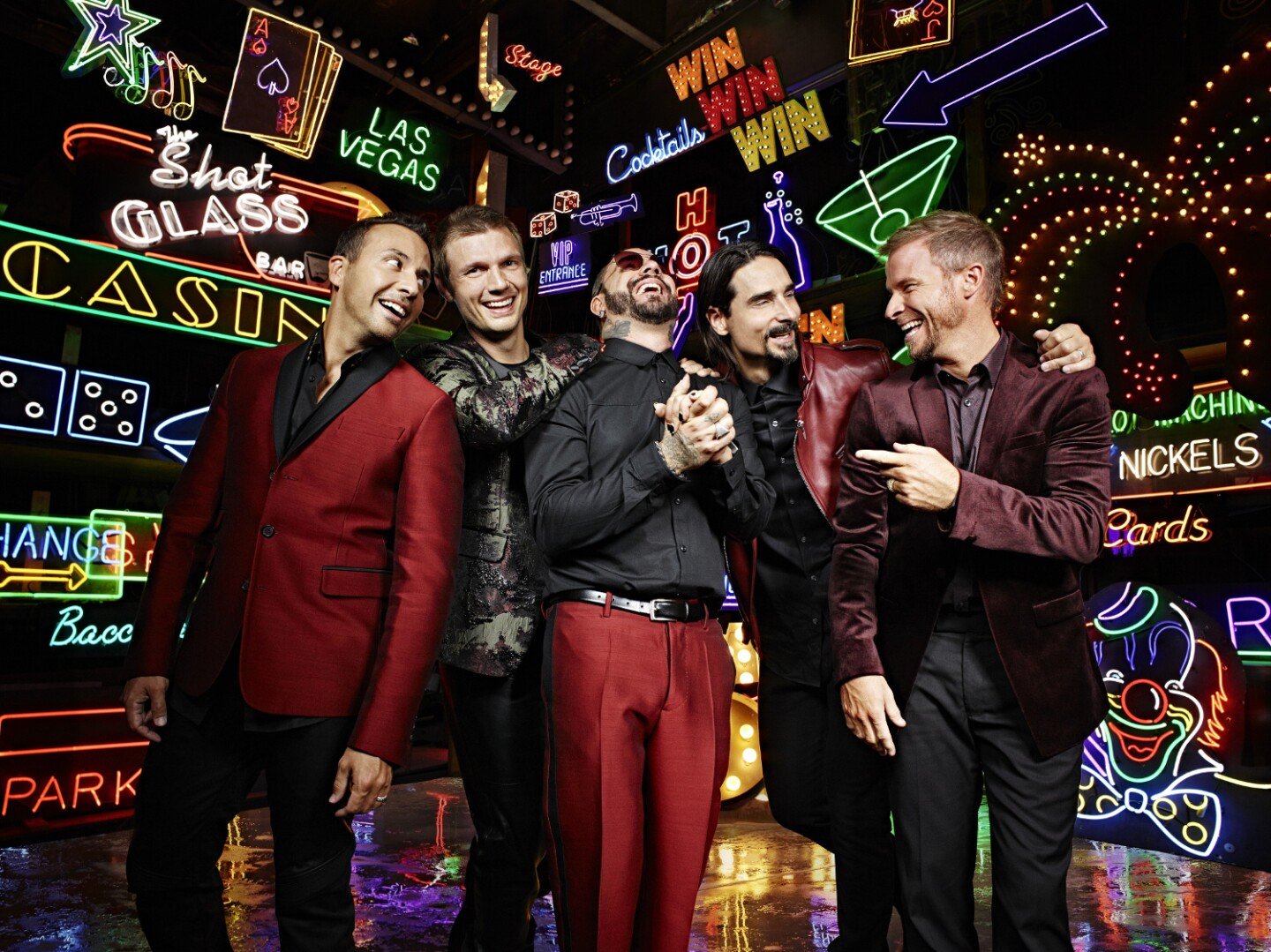 The Backstreet Boys in front of Lisa Schulte's work