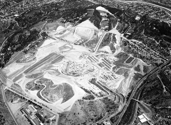 Another 1961 aerial view of Dodger Stadium construction. Courtesy of the Photo Collection - Los Angeles Public Library.