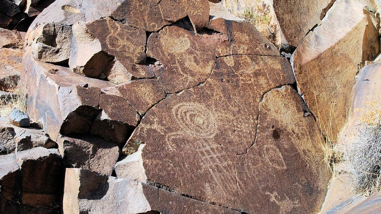 Abstract petroglyphs at at Coso Rock Art District National Historic Landmark | Courtesy of Maturango Museum No Trespassing AB s9