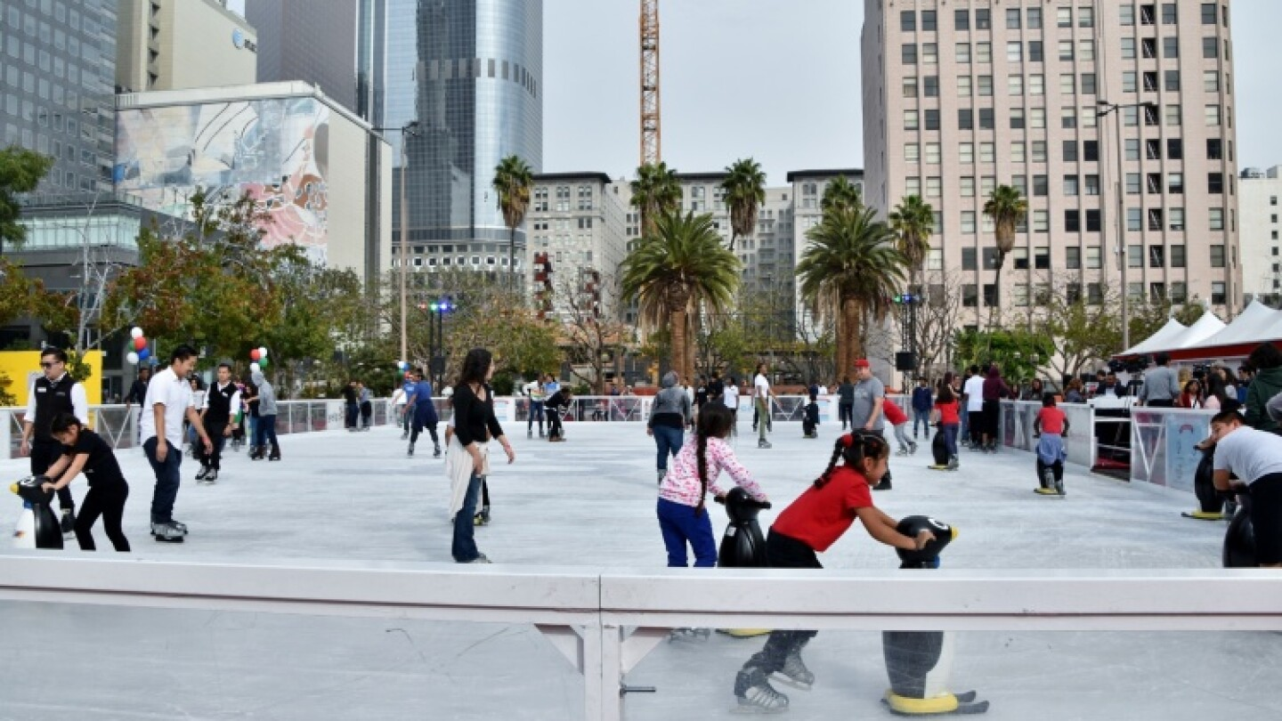 The Bai Holiday ice rink stays open throughout the holiday season. | Courtesy Bai Holiday Ice Rink, via LAist