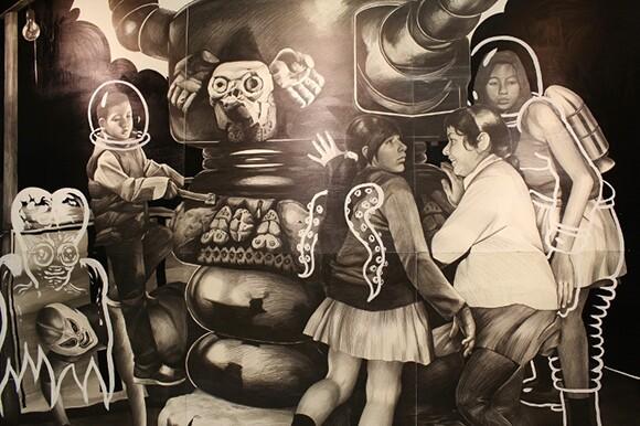 A detail of Crosthwaite's wall-sized drawing. | Photo: Carolina A. Miranda