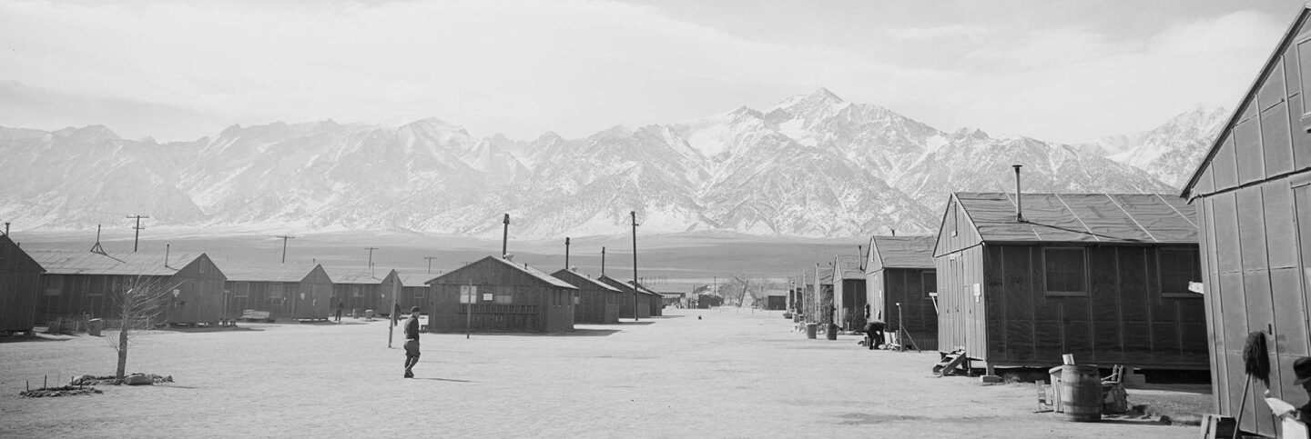 Street scene with clouds at Manzanar Relocation Center, California | Ansel Adams via Densho.org  ABs10 MMD