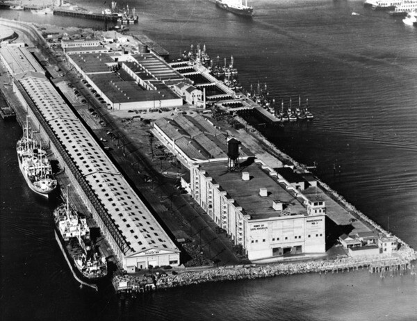 Aerial view of Port of Los Angeles Warehouse No. 1 | Security Pacific National Bank Collection, Los Angeles Public Library