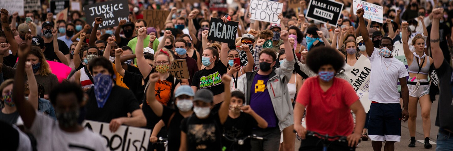Protesters march on Hiawatha Avenue while decrying the killing of George Floyd on May 26, 2020 in Minneapolis, Minnesota. | Stephen Maturen/Getty Images