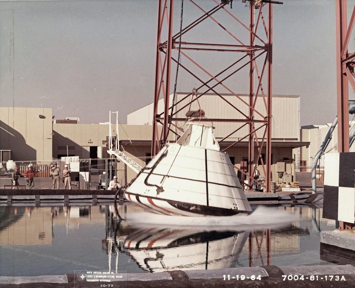 An Apollo drop test in 1964. | Courtesy of Columbia Memorial Space Center/ Aerospace Legacy Foundation