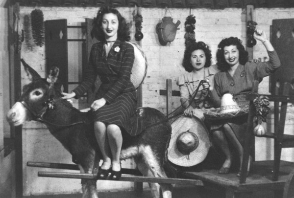 Girls on a Donkey posing for a picture in 1944 | Courtesy of Los Angeles Public Library