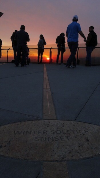The line that points to winter solstice sunset.   Photo: Zach Behrens/KCET