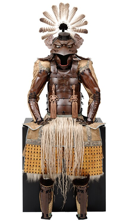 """Armor with the Features of a Tengu,"" Japan, Late Edo period, 1854; iron, lacquer vegetable fiber, bear fur, leather, feathers and fabric; Photograph Brad Flowers; Copyright The Ann & Gabriel Barbier-Mueller Museum, Dallas"