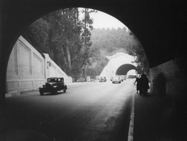 Before the tunnels became part of the Arroyo Seco Parkway, pedestrians could walk through them down a five-foot-wide sidewalk. 1937 photo courtesy Herman J. Schultheis Collection - Los Angeles Public Library.