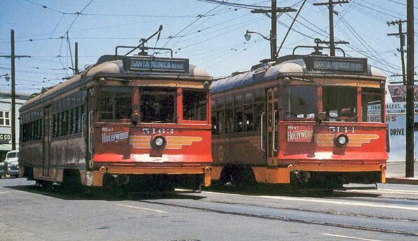 Two streetcars pass Sunset Junction, circa 1952. Courtesy of the Metro Transportation Library.