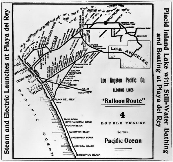1910 map of the Los Angeles Pacific Company electric streetcar lines. Sunset Junction appears in the top-right and is labeled 'Sanborn'. Courtesy of the California Historical Society Collection, USC Libraries.