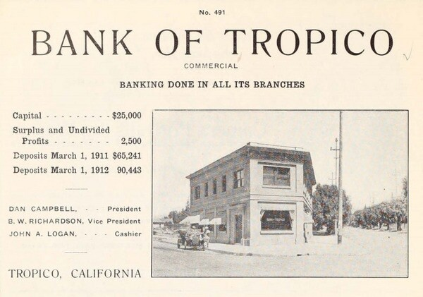 A 1912 advertisement for Tropico's bank. From the brochure 'Glendale, California: The Jewel City,' courtesy of the Glendale Public Library's Promotional Brochures of Tropico and Early Glendale.