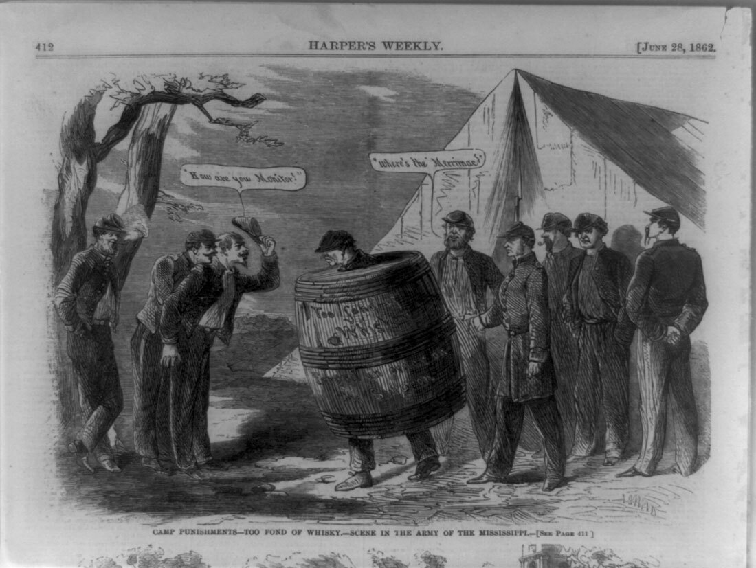 Camp punishments--too fond of whisky [sic]--scene in the Army of the Mississippi | Library of Congress