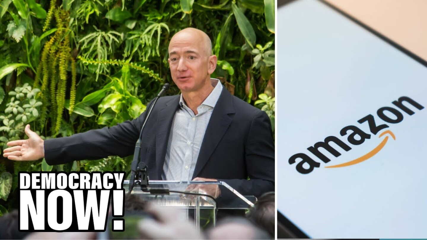 Split image of Amazon CEO Jeff Bezos gesturing at a podium and the Amazon logo.