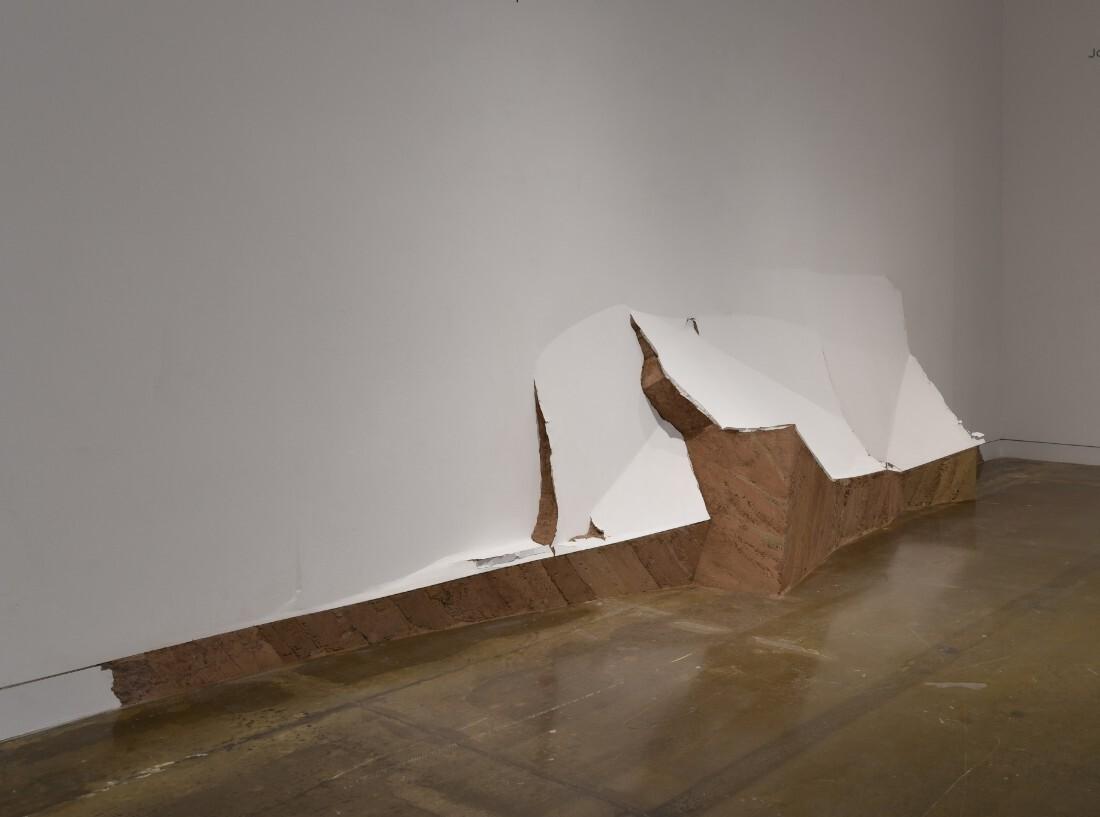 """OCMA Stratigraphy, 2017"" by Leyla Cárdenas cuts into the museum walls | Courtesy of the artist OCMA Triennial"