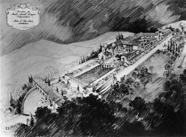 A drawing of Mack Sennett's never-built mountaintop mansion. Courtesy of the UCLA Library Special Collections.