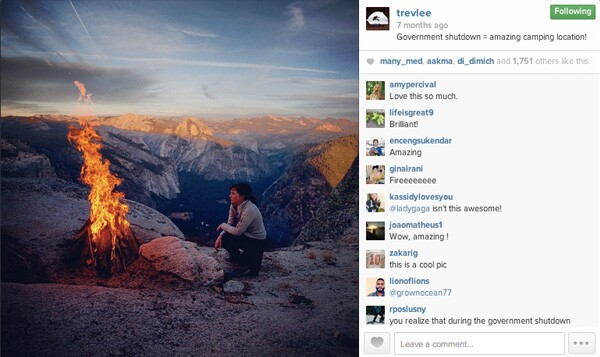 A campfire lit at Eagle Peak, Yosemite National Park.