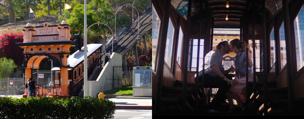 """Angels Flight as seen in """"La La Land,"""" the musical starring Emma Stone and Ryan Gosling."""