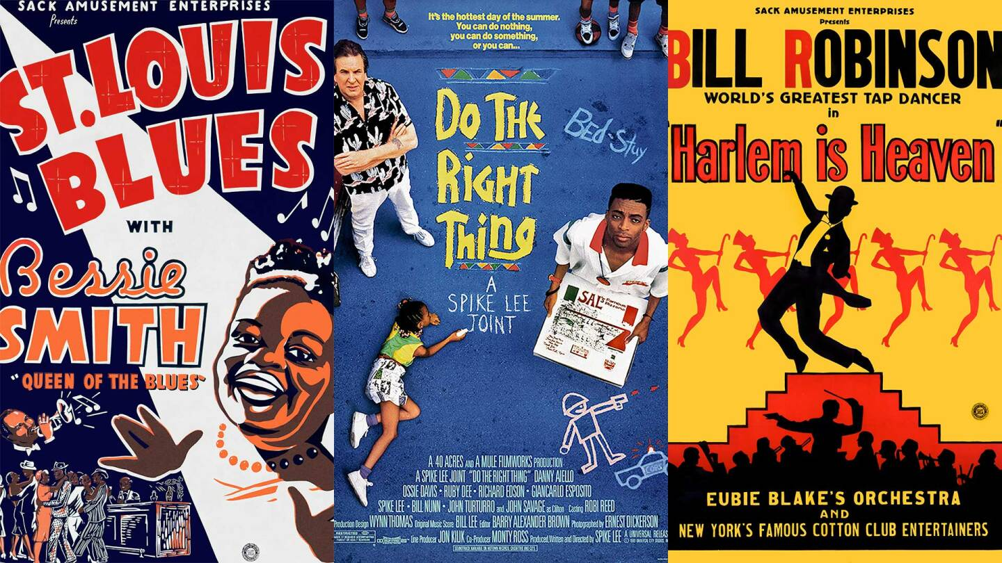 """Film posters for """"St. Louis Blues,"""" Do the Right Thing"""" and """"Harlem is Heaven."""" 